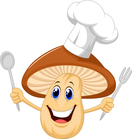Cartoon mushroom chef