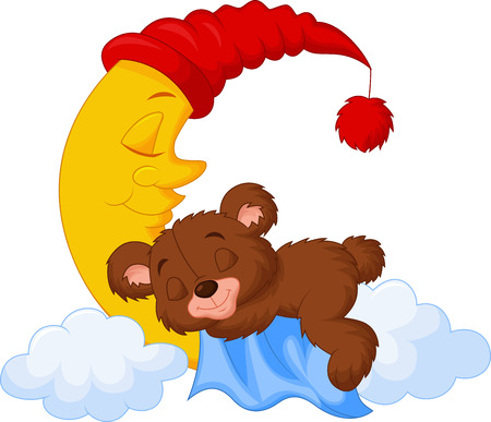 De teddybeer cartoon slapen op de maan