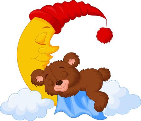 El oso de peluche de dibujos animados dormir en la luna