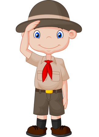 Young boy scout cartoon doing a hand sign Vector