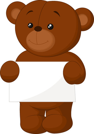 Cute brown bear cartoon holding blank sign Vector