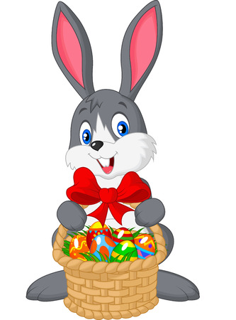 Easter bunny cartoon with bucket of eggs