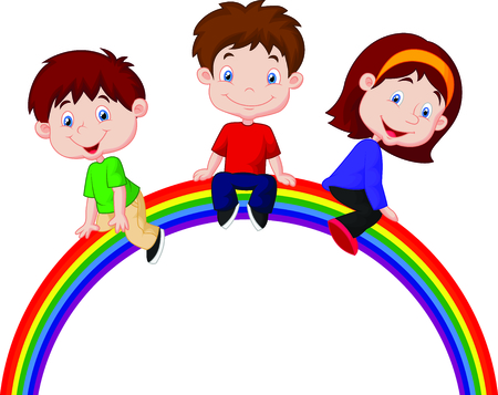 Cartoon children sitting on rainbow Vector
