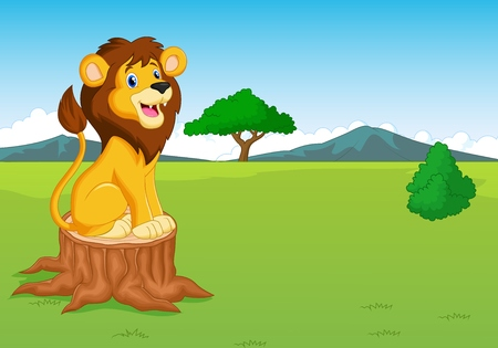 Cute lion cartoon in the savannah Vector