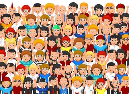 cartoon mensen: Menigte van cartoon mensen juichen