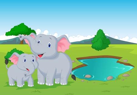river trunk: Cartoon elephant family near watering hole