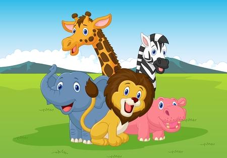 Safari szczęśliwy cartoon zwierząt