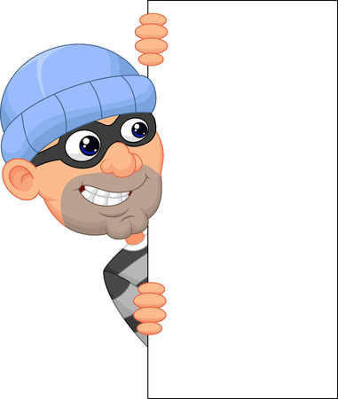 Ladrón de dibujos animados mirando alrededor del borde de una muestra en blanco