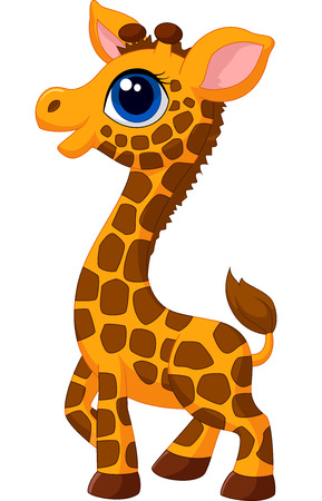 young animal: Cute baby giraffe cartoon
