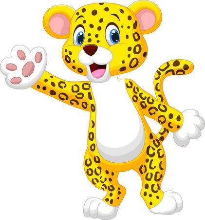 Cute cartoon leopard waving hand  Vector