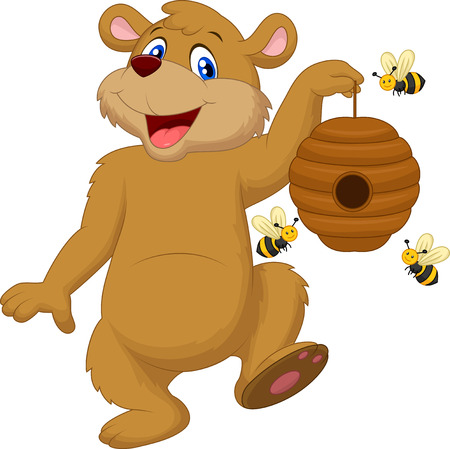bear cartoon: Cartoon bear holding bee