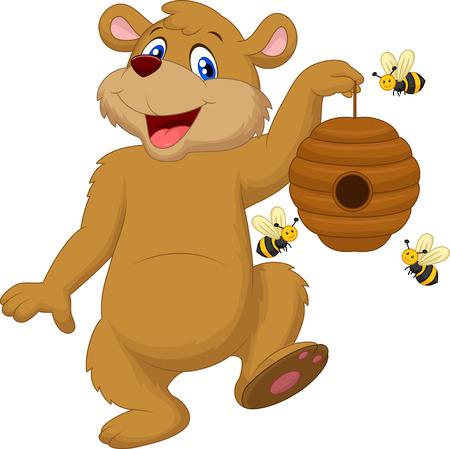 oso caricatura: Oso de dibujos animados con la abeja