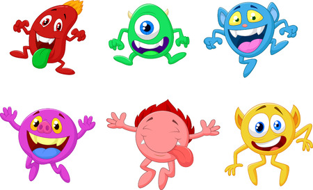 Happy cartoon monster collection  Vector