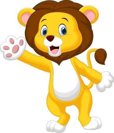 Cute lion cartoon waving hand  Vector