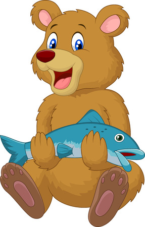 Cute bear cartoon holding salmon fish  Vector