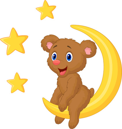 Baby bear cartoon sitting on the moon  Vector