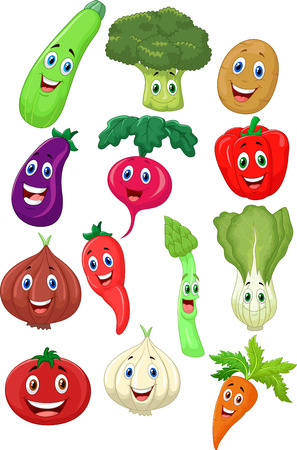 Cute vegetable cartoon character  Vector