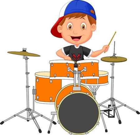 小さな少年漫画ドラムを打つ  イラスト・ベクター素材