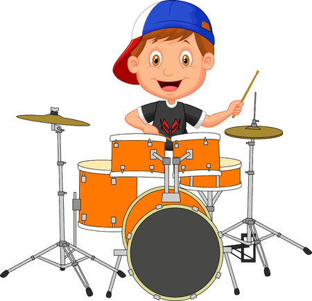 Little boy cartoon playing drum  Çizim