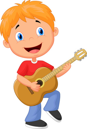 boys happy: Little boy cartoon playing guitar