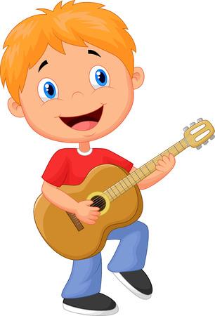 divertirsi: Little boy fumetto suonare la chitarra Vettoriali