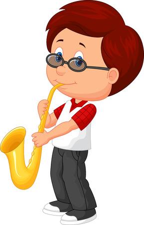 Netter Junge Cartoon Saxophon zu spielen Standard-Bild - 27657127