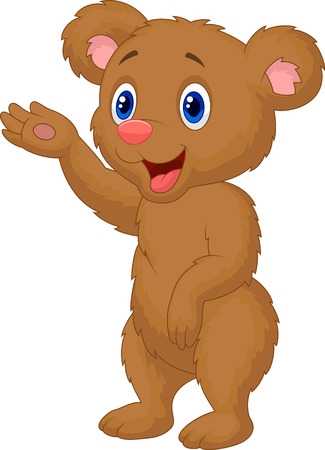 Cute baby bear cartoon waving hand  Vector
