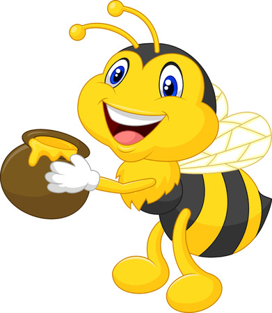 funny: Bee cartoon holding honey bucket
