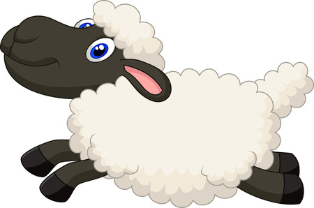 sheep wool: Cartoon sheep jumping
