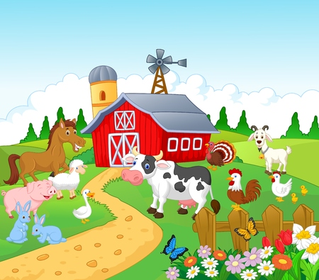 farm animal cartoon: Cartoon Farm background with animals