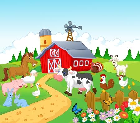 vogelspuren: Cartoon Farm Hintergrund mit Tieren Illustration