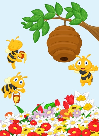 honeybee: Cartoon a branch of a tree with a beehive and a bee  Illustration