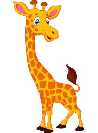giraffe white background: Historieta de la jirafa feliz