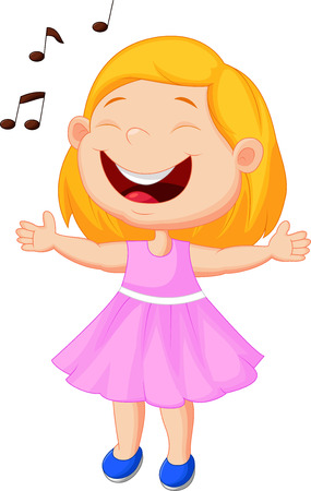 Little girl cartoon singing  Vector