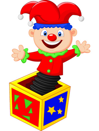 상자에서 밖으로 점프 만화 재미있는 장난감 일러스트