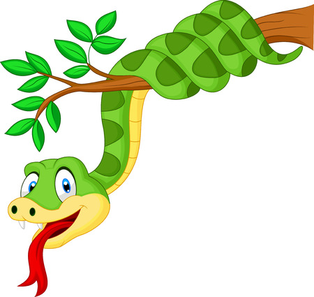 Cartoon green snake on branch