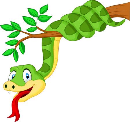 lengua larga: Serpiente verde historieta en la ramificaci�n Vectores