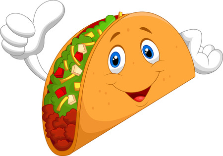 ground beef: Taco cartoon giving thumb up