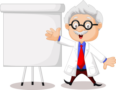 Professor cartoon teaching Vector