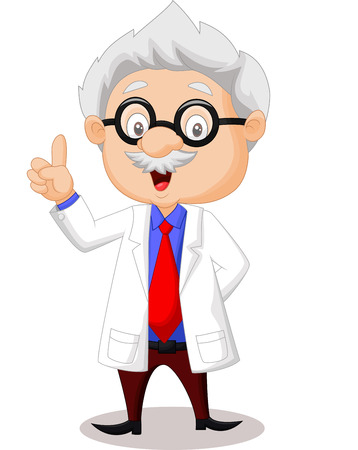 Professor cartoon pointing his hand  Illustration