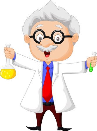 teacher cartoon: Cartoon scientist holding chemical flask