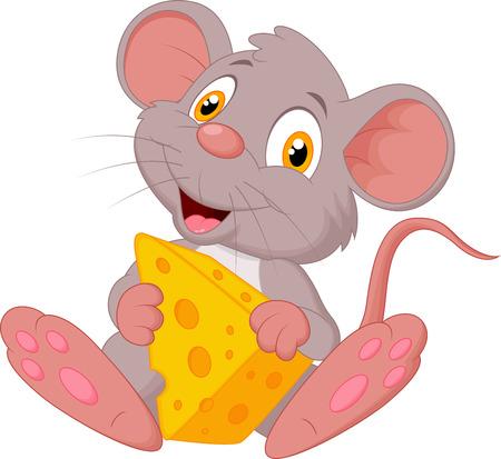 kaas: Leuke muis cartoon bedrijf kaas Stock Illustratie