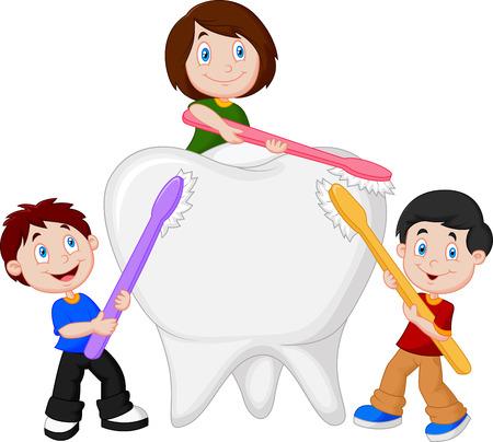 Cartoon Kids brushing white tooth Vector