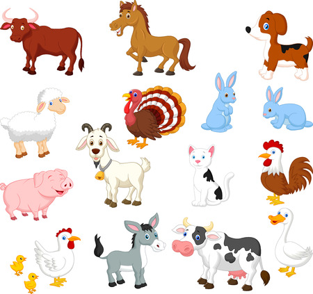 cartoon sheep: Farm animal collection set