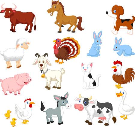 bauernhof: Sammlung von landwirtschaftlichen Nutztieren Satz Illustration