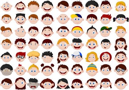 expresiones faciales: Juego de ni�os de dibujos animados cabeza