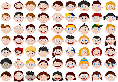 unhappy family: Set of cartoon children head