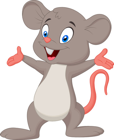 little finger: Cute mouse cartoon presenting  Illustration