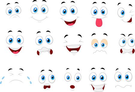 다양한 얼굴 표정의 만화 일러스트