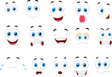 round face: Cartoon of various face expressions